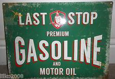 LAST STOP GASOLINE & MOTOR OIL, VINTAGE-STYLE METAL SIGN 40X30cm (LARGE) GARAGE