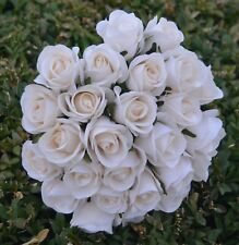 SILK ROSE ROSES IVORY CREAM WEDDING FLOWERS BOUQUET ARTIFICIAL PRE MADE POSY