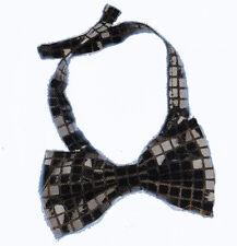 Noeud papillon à paillettes carrées noires avec un ruban assorti 71313 carnaval