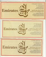 UAE EMIRATES AIRWAYS LOT OF 3 PASSENGER TICKET AND BAGGAGE CHECK