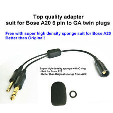 Bose A20 Lemo 6 pin to general aviation twin plugs adapter aviation headset
