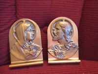 """Vintage Pair of Jesus and Mary Sacred Heart Copper Book Ends 6"""" tall x 4"""" wide"""