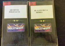LOT OF 2 SPANISH VHS MOVIES. ARCHIVOS POLICIACOS, EL GATO DE LA SIERRA.  VHS.