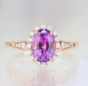 0.80ct Natural Round Diamond 14K Rose Gold Amethyst Gemstone Cocktail Ring