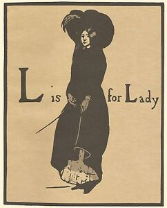 William Nicholson Woodcut Print 1898 L is for LADY Alphabet Lithograph 1975