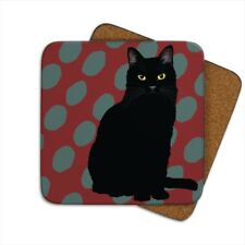 SET OF TWO BLACK CAT, CAT COASTERS BY LESLIE GERRY / CORK BACKED / TEA / COFFEE
