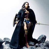 """1/12 Scale Custom Black Wired Robe Cloak for 6"""" Figure SHF One:12 Wonder Woman"""