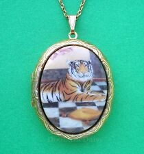 Cats Porcelain Royal BENGAL TIGER CAMEO Costume Jewelry Locket Pendant Necklace