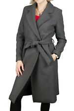 Lange Wollmantel Damenmantel  Moderne Schnitt Mantel mit Gürtel Grau