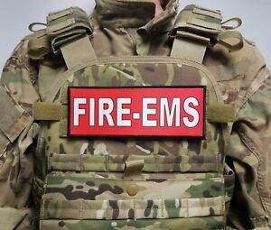 "3x8"" FIRE EMS Red Hook Plate Carrier Vest Patch Firefighter Paramedic EMT"