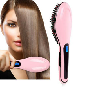 Hair Straightener Comb Electric LCD Temperature Control Iron Brush Massager Tool