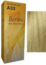 BERINA PERMANENT A33 COLOR HAIR DYE LIGHT BLONDE COLOR Professional Use