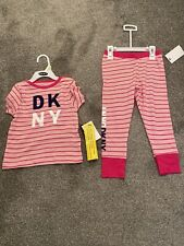 Girls DKNY Pink Striped Pyjamas Glitter Logo Age 4