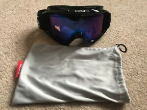 BOLLE SKI GOGGLES SNOW GOGGLES BLACK FRAME PURPLE BLUE LENS WITH POUCH