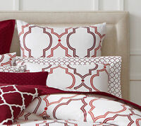 New Charter Club Damask Designs Geometric Ogee Garnet Standard Pillow Sham (1)
