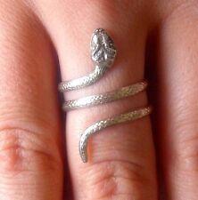 Silver Snake Ring, Wrap Ring, Size 6