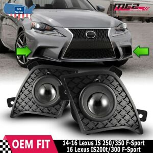 For 13-15 Lexus IS Fog Lights  PAIR Fits Factory OE Style + Wiring Kit Clear Len