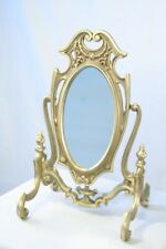 Art Nouveau Solid Brass Adjustable Swivel Beveled Glass Vanity Mirror with Stand