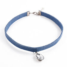 Fashion Women Blue Denim Chunky Choker Drop Crystal Pendant Collar Necklace