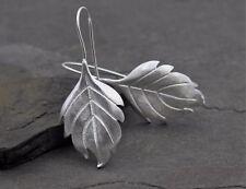 Damen Ohrringe Echt 925 Sterling Silber Blatt Ohrstecker Feder Tropfen Geschenk