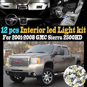 12Pc Super White Car Interior LED Light Bulb Kit for 2001-2008 GMC Sierra 2500HD