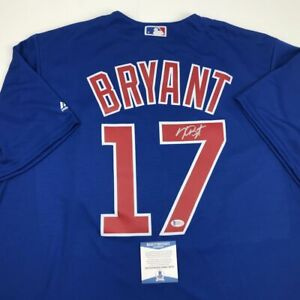 Autographed/Signed KRIS BRYANT Chicago Blue Baseball Jersey Beckett BAS COA Auto
