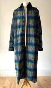 MOHAIR Dark Blue Green Full Length Collared Coat Jacket Tall Trench Size Large