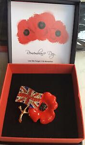 Popp y Brooch Red UNION JACK Enamel Pin Lapel Badge Crystal Gift Boxed UK