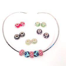 Silver Tone Collar Choke Cuff Wire Necklace 15 Beads Swarovski Crystals & Glass