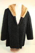 Authentic Persian Karakul Lambs Curly Wool Jacket Blonde Mink Fur Collar 10 - 14