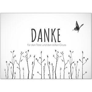 15 Trauer-Danksagungskarten Trauer-karten Umschlag edel Motiv Schmetterling