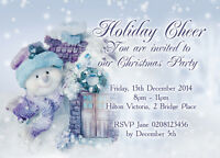 10 Personalised CHRISTMAS New Year Party Invitations colour envelopes ch3