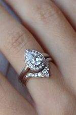 2.55CT White Pear Cut Diamond Cute & Lovely Engagement Ring 14K White Gold