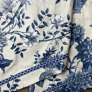 """Waverly Williamsburg Ascot Valance Set Of 2 Blue White Floral 52""""x22"""" Never Used"""