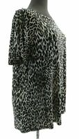 Cable & Gauge Womens Brown Animal Print Cold Shoulder Short Sleeve Top Casual