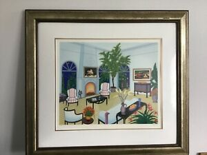 Françoise Fanch Ledan Hand signed Limited Edition Lithograph Interior with Monet