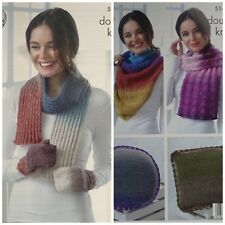 KNITTING PATTERN Ladies Mittens Scarf 2 Wraps & 2 Cushions DK King Cole 5148