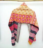 Vintage Dupatta Scarf Cotton multicolor Hijab Hand Embroidered Kantha Stole SM21