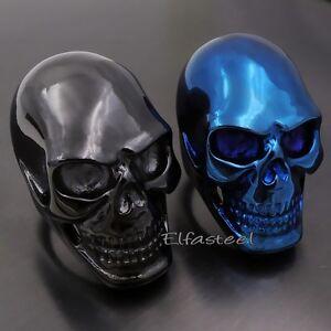 MENS Huge Heavy Metallic Blue / Black SKULL 316L Stainless Steel Biker Ring
