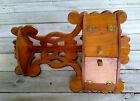 Antique Victorian Scroll Cut 2 Tier Wooden Fretwork Corner Wall Shelf Cabinet