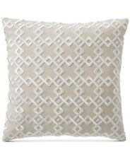 """Hotel Collection Geometric Embroidered 100% Linen 22"""" Decorative Pillow - Beige"""