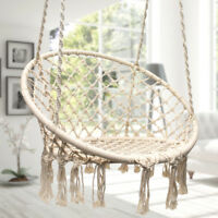 Hanging Cotton Rope Macrame Hammock Chair Swing Indoor Outdoor Home Garden 265lb