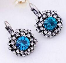 Elegante Strass Blu Diamante Argento Orecchini a Perno Cerchio Goccia Piercing E23 UK