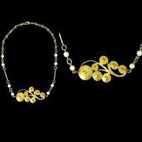 Vintage 1920s French Made Art Deco Swirl Filigree Necklace