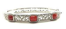Antique Style Sterling 925 Cabochon Carnelian Swirl Loop Design Bangle Bracelet