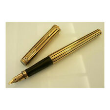 PARKER PREMIER GOLD PLATED & LAQUER BLACK STRIPES FOUNTAIN PEN F PT  NEW IN BOX