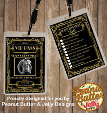 PERSONALISED GATSBY THEME HENS NIGHT VIP PASS AND DARES LANYARD - DOUBLE SIDED