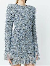 BALMAIN $1,995 Denim Blue  Metalic Boucle Fringe Trim Bodycon Dress 40 Gorgeous!