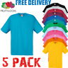 5 x Fruit of the Loom MEN'S T-SHIRT COTTON TSHIRTS SIZES S-3XL WHOLESALE PACK