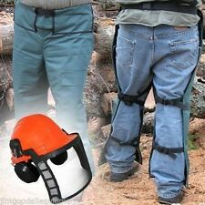 """Chain Saw Safety Wrap Chaps,40"""" Leg,Green,Osha Approved,w/ Free Safety Helmet"""